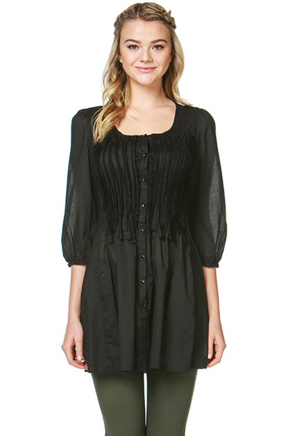 Woven Smocked Button Down Tunic Dres - orangeshine.com