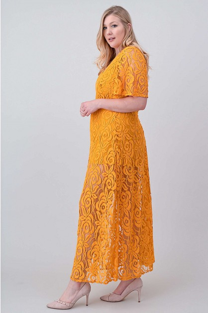 FLORAL LACE MAXI DRESS - orangeshine.com