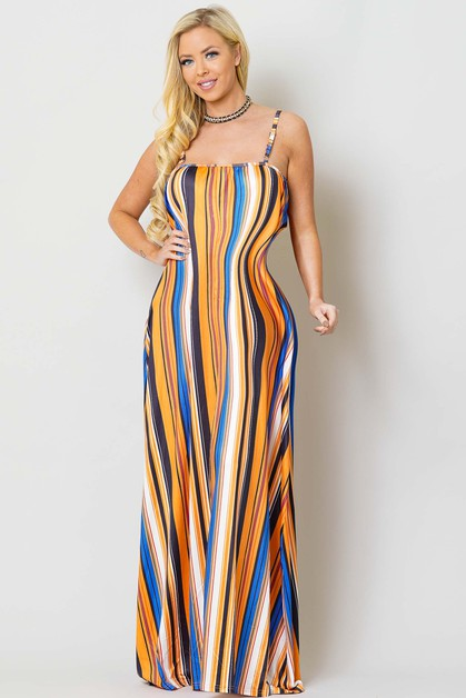 MULTI STRIPE MAXI DRESS - orangeshine.com