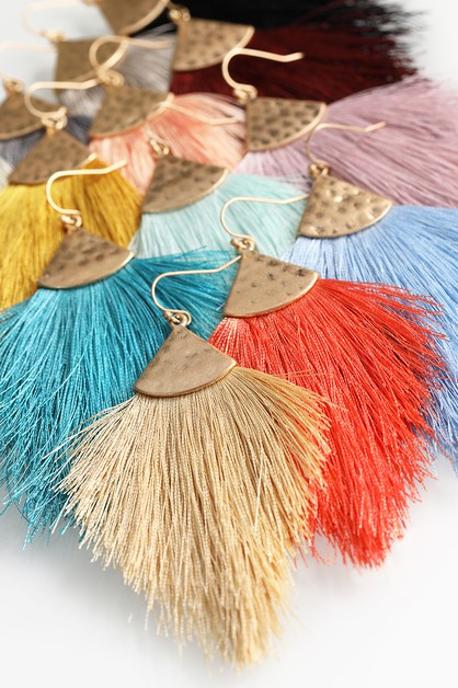 Fine Thread Tassel Hook Earrings - orangeshine.com