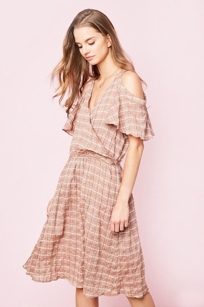 Plaid Print Cold Shoulder Midi Dress - orangeshine.com