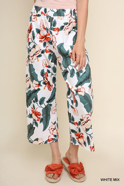 Floral Print High Waist Pants - orangeshine.com