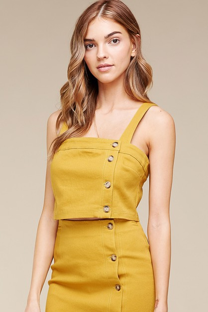BUTTON-DOWN COTTON TWILL CROP TOP    - orangeshine.com
