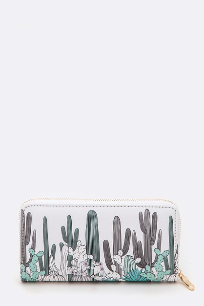 Mix Cactus Print Fashion Wallet - orangeshine.com