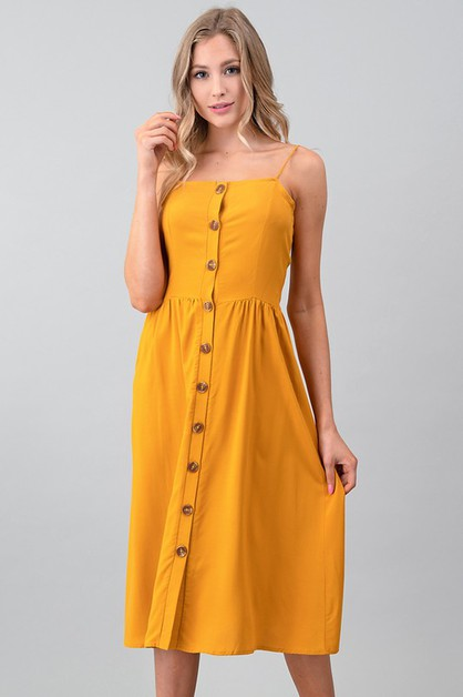 BUTTON DOWN CAMI WOVEN DRESS - orangeshine.com