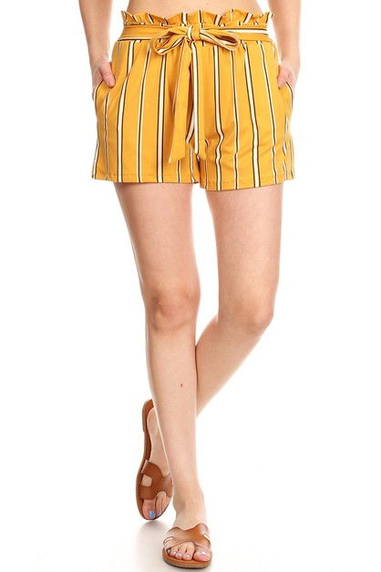 Yellow Stripes Paper Bag Shorts Soft - orangeshine.com