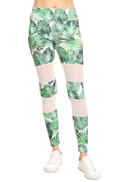 Tropical print yoga leggings - orangeshine.com