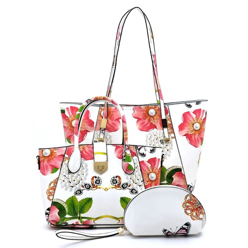 Glossy Flower Printed 3-in-1 Tote  - orangeshine.com