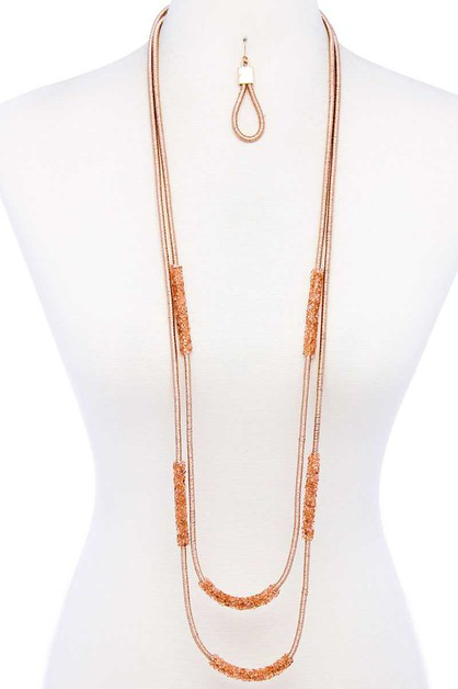 LONG NECKLACE AND EARRING SET - orangeshine.com