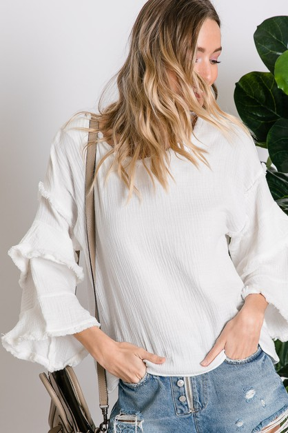 TEXTURED TIERED BELL SLEEVE BLOUSE T - orangeshine.com