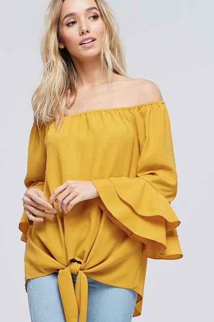 Ruffled Bell Sleeve Solid Woven Top - orangeshine.com