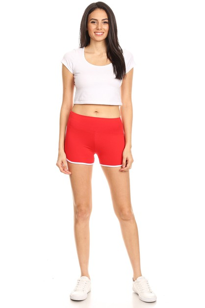 Yoga Shorts With White Contrast - orangeshine.com