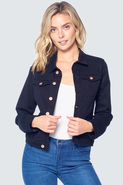 BLACK DENIM COLOR JEAN JACKET - orangeshine.com