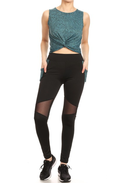Active Set Mesh leggings Crop Tops  - orangeshine.com