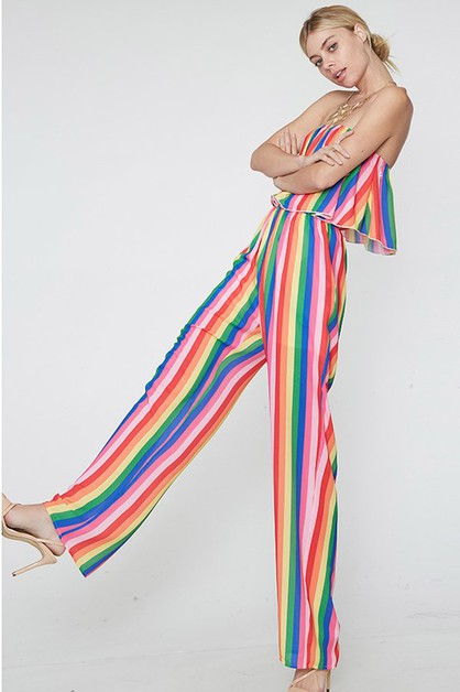 Rainbow off shoulder jumpsuit - orangeshine.com
