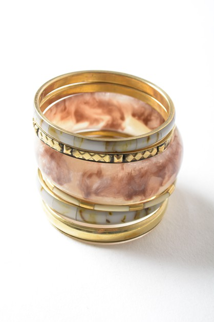 Resin and Stone Stacked Bangle - orangeshine.com
