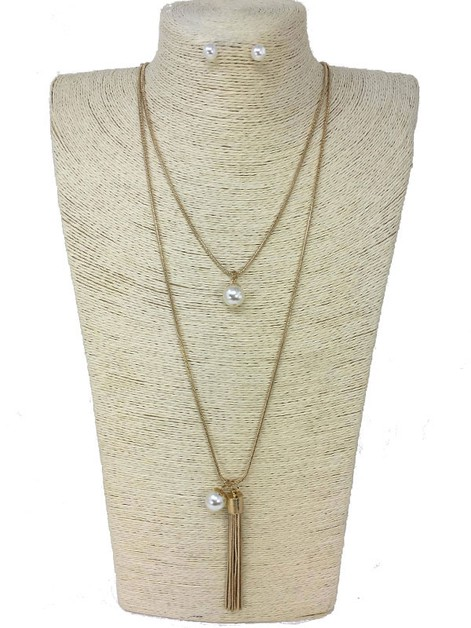 DOUBLE LAYER PEARL DROP NECKLACE - orangeshine.com