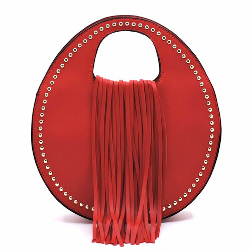 Fashion Fringe Studded Round Satchel - orangeshine.com