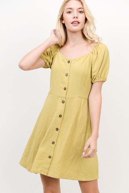 A Line Dress With Puffed Sleeves - orangeshine.com