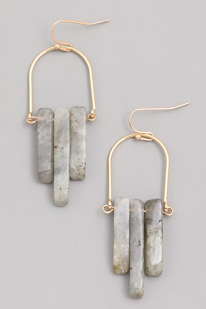 Stone Bar Drop Earrings - orangeshine.com