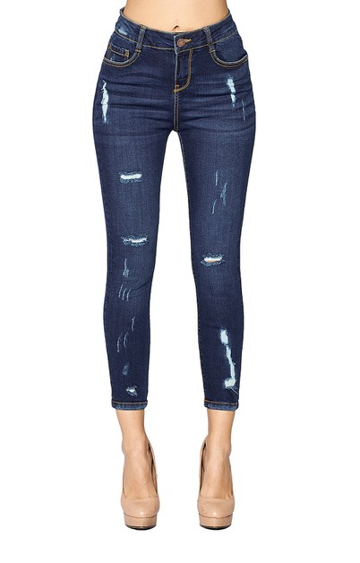 High Rise Destroyed Ankle Jeans - orangeshine.com