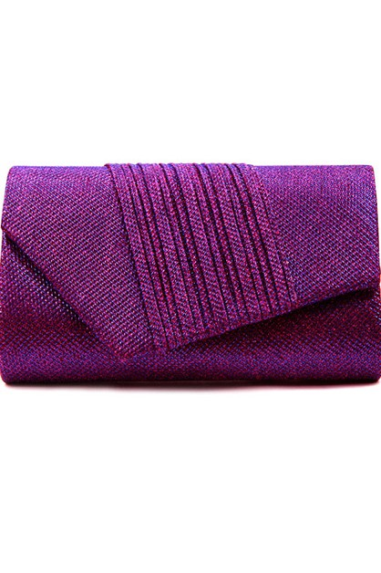 Diagonal Pleated Glitter Evening Bag - orangeshine.com