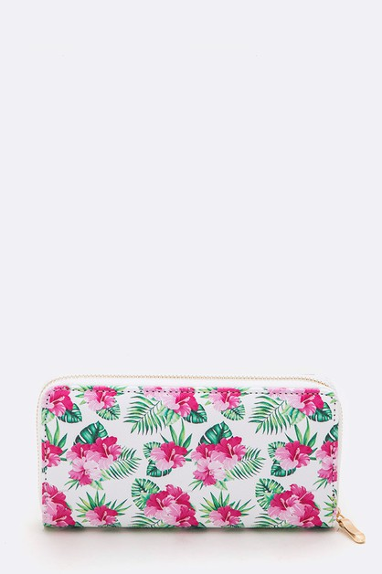 Floral Leaf Print Fashion Wallet - orangeshine.com