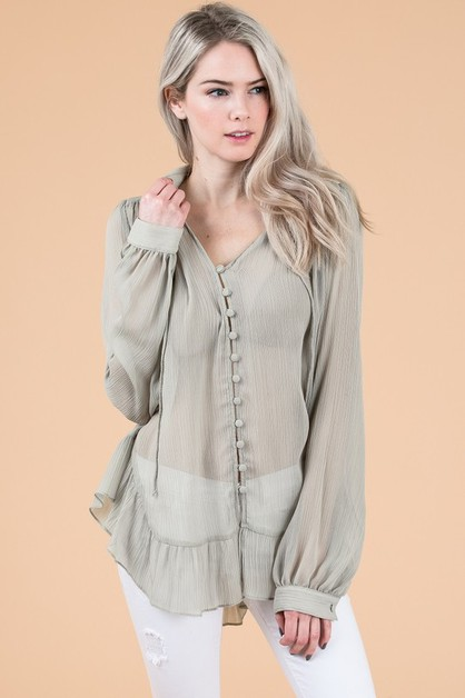 SHEER V-NECK BUTTON DOWN TOP - orangeshine.com