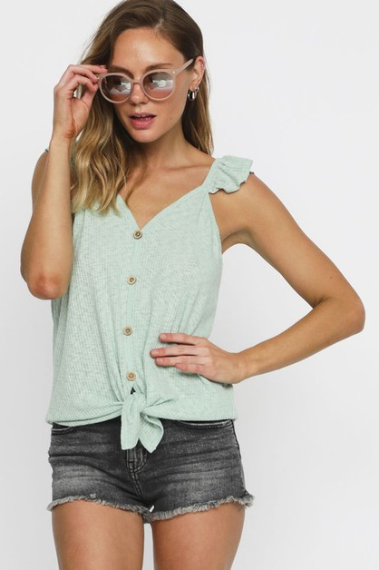 RIB KNIT BUTTONED FRONT TANK TOP - orangeshine.com
