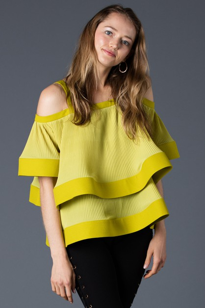 Chiffon pleated fabric Cold shoulder - orangeshine.com