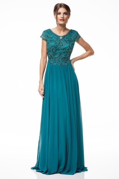 Short Sleeve Evening Dress - orangeshine.com