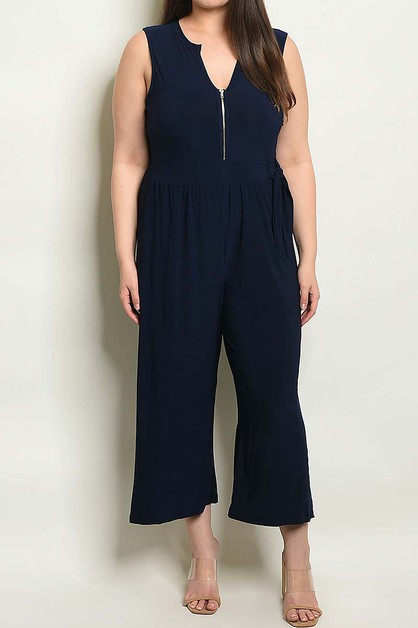 ZIPPER DETAIL WIDE LEG PLUS JUMPSUIT - orangeshine.com