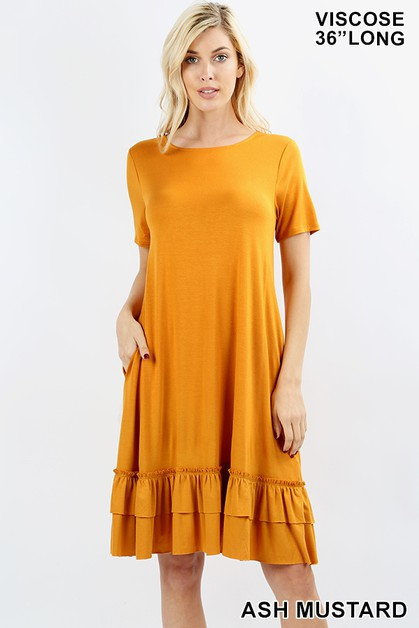 VISCOSE POCKET RUFFLE HEM DRESS - orangeshine.com
