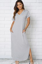 maxi shift dress v-neck - orangeshine.com