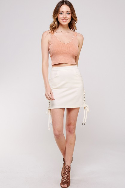 SIDE CROSS TIE UP CASUAL MINI SKIRT - orangeshine.com