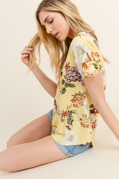 Floral Print with Detailed Sleeves - orangeshine.com