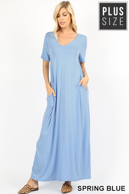 PLUS V-NECK SHORT SLEEVE MAXI DRESS - orangeshine.com