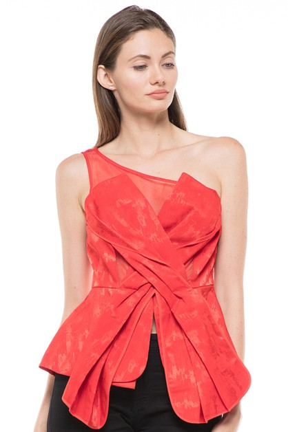 ONE SHOULDER SLEEVELESS TOP - orangeshine.com