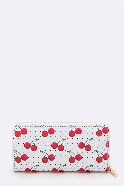 Mix Cherry Print Fashion Wallet - orangeshine.com