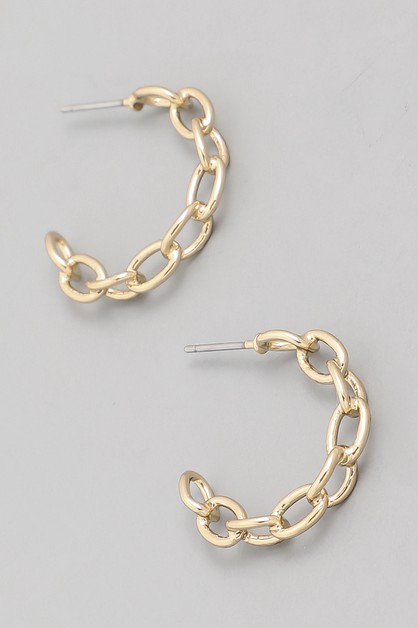 Small Chain Hoop Earrings - orangeshine.com