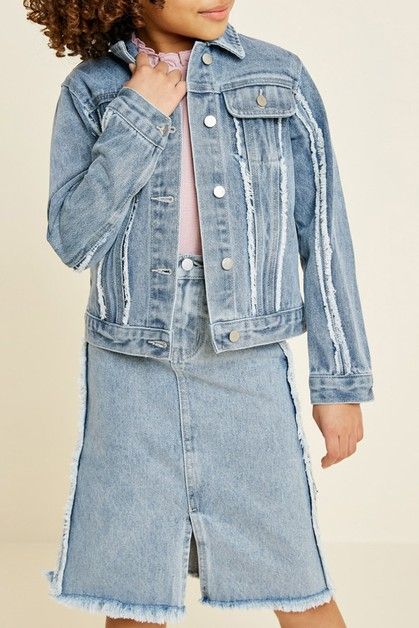 Frayed Denim Jacket - orangeshine.com