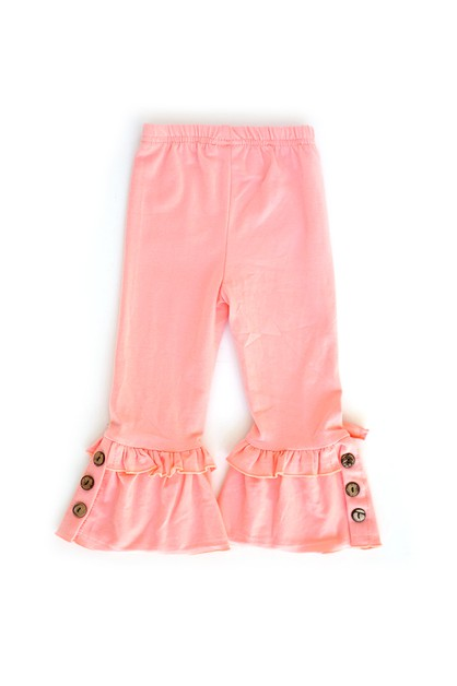 Pink Ruffle Pants With Button Accent - orangeshine.com