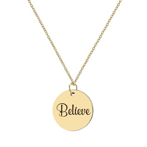 Gold Motivational Disc Necklace - orangeshine.com