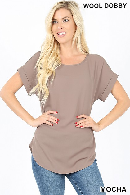 WOVEN SHORT CUFF SLEEVE TOP - orangeshine.com