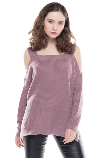 Shoulder Cold Shoulder Casual Knit S - orangeshine.com