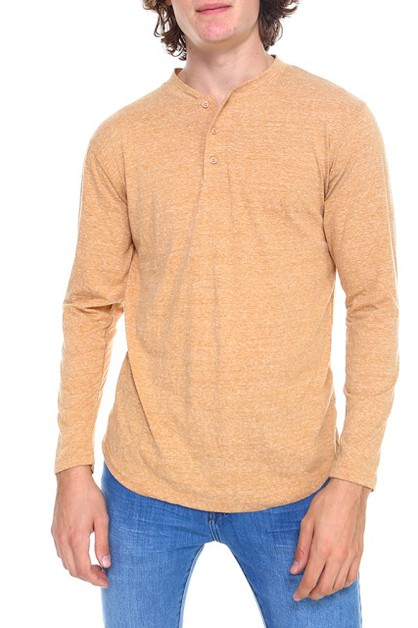 HAWKS BAY LONG SLEEVE HENLEY T-SHIRT - orangeshine.com
