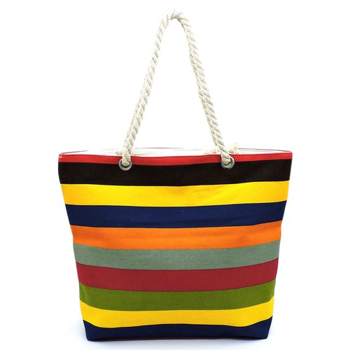 Multi Striped Canvas Beach Tote - orangeshine.com