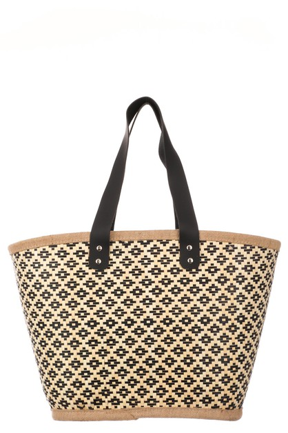 Straw Weave Motif Tote Bag - orangeshine.com
