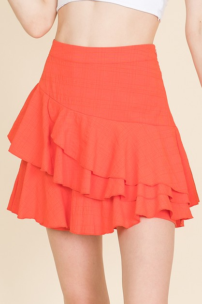 RUFFLED SOLID HIGH WAISTED SKORTS - orangeshine.com