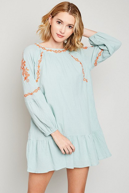 Embroidered Tunic Mini Dress - orangeshine.com